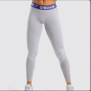 Gymshark Flex Leggings - Light Grey Marl/Indigo